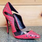 Lust for Life Kill it Red Leather Studded Translucent  Pointy Toe Pump Shoe 7-12