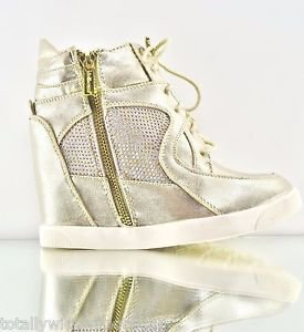 Craze Gold High Top Fashion Wedge Sneaker Gold Zipper Jeweled 5.5 - 10  Comfort