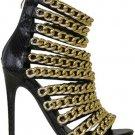 "Nelly  Black Snake Multi Chain Strap 4.5"" Heel Mini Platform Shoe 6-11"