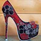 Alba Yang 24 Sparkling Black Red Silver Rhinestone Platform Pump Sizes 7 & 9