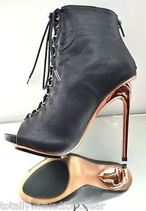 Privileged Kitt Black Leatherette Copper Chrome Heel Lace Up Ankle  Boot 6 or 7