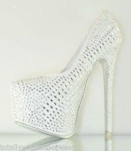Alba Yang 52 White Rhinestone Covered Platform Pump 6 - 11 Wedding Shoes