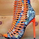 Luichiny Crunch Time Neon Orange Mag Print Tear Drop Stiletto Heel Shoe Boot