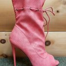 Mona Mia Alectrona Open Toe Preforated Drwstring Mid Calf Boot 7-11 Powder Coral
