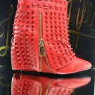 Lust for Life Battle Quality Red Leather Studded Slip On Ankle Boot 7-11