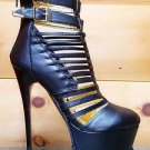 "Mona Mia Vela Black Strapped Buckle 6"" Heel Platform Ankle Boot Grip Tread 7-10"