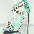 "Privileged Riot Mint Pastel Print Studded Cross Strap Sandal Shoe 5"" Heel 7 9 10"