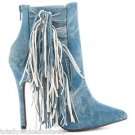 Luichiny Going Fast Pointy Toe Knotted Fringe Mineral Wash Denim Booties