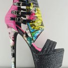 Privileged Xpress Magazine Print Textured Platform High Heel Shoe Boot 6-10
