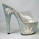 "Bejeweled 701F Slip On 7"" Heel Platform Shoe W/ Flower Design Rhinestones Base"
