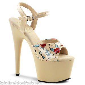"Pleaser Adore 709PRT Beige Cream Tattoo Print Ankle Strap Platform Shoe 7"" Heel"