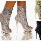 Blondie 1008 Sparkly Sequin Open Toe Dual Rhinestone Platform Ankle Boot Heel