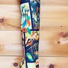 RK Model Colorful Tropical Bird Mag Print Gold Stiletto Heel Over The Knee Boot