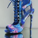 Privileged Rori Blue Multi Color Abstract Print Sandal Shoe 5 Heel Size 7 LAST 1