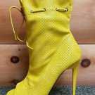 Mona Mia Alectrona Open Toe Preforated Drawstring Mid Calf Boot 7-11 Yellow