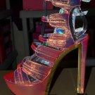 Privileged Raya Metallic Iridescent Snake Buckle Strap Vamp Platform Heel 7-11