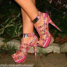 Aztec Guardian Bright Multi Color Print Cage Design Platform Shoe Sizes 6-10