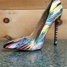 Alba Jamie Yellow Multi-colored Pointy Toe Pump Stiletto Heel 6-11