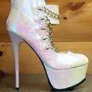 "Mona Mia Chibela Iridecent White With Gold Chain Vamp 6"" Heel PF Ankle Boot Shoe"