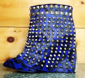Lust for Life Shiny Blue Leopard Pony Hair Studded Slip On Ankle Boot Size 8.5