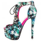 "Privileged Lucifer Black Teal Abstract Print Open Toe Platform Shoe 6"" Heel 6-11"