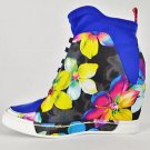 Privileged Rowe Blue Floral Print Pull on Stretch Sneaker Wedge Size 8