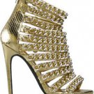 "Nelly Gold Snake Multi Chain Strap 4.5"" Heel Mini Platform Shoe 6-11"