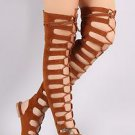 Cape Camel Brown Open Lace Up Front Thigh High Gladiator Sandals