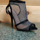 Baker Zigi Black Mesh Slingback Open Toe  Stiletto Sandal Shoe Silver Glitter