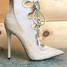 Alba Jamie Nude Open Mesh Lace Up Front Pointy Toe Ankle Boot 6-11