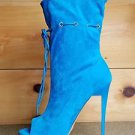 Mona Mia Alectrona Open Toe Preforated Drawstring Mid Calf Boot 6-10 Aqua Blue
