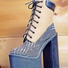 Athena Multi Tan / Fabric Chunky Heel Platform Ankle Boot 6.5-11 Chelsey