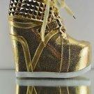 Privileged Vengeance Designer Sneaker Wedge  Stud Collar Chain Laces 6-10 Gold