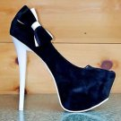 Alba Betty Black & White Side Bow Platform Pump Shoe White Color Sole Size 8