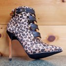 Privileged Swalka Black Strap Leopard FX Hair Pointed Toe High Heel Ankle Boot