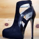 Luichiny Where Its At Black Charchol Snake Texture Platform Cut Out Boot Shoe