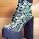 Athena Multi Green Fabric Chunky Heel Platform Ankle Boot 6.5-11 Chelsey