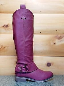 Rider 16 Wine Berry Leatherette Buckle Cowboy Riding Boot 6-10
