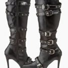SPICY 138 Black PU Leather Multi Buckle Boot Single Sole Pointy Toe Size 8