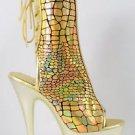 Delight 1018 HG Gold Hologram Scale Pattern Platform Ankle Boot Size 5 - 12
