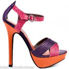 Luichiny Bow Tie - Pink Purple Orange Snake Texture Ankle Strap Sandal Shoe 5-10