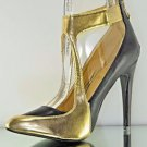 "Athena Kendra Black / Gold Color Cut Out Bootie Style Shoe 4"" Heel 7.5-9"