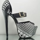 "Athena Zoey Black & White Tribal Print Platform Shoe 5.5"" Heel 6-10"