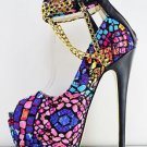 Red Kiss Girl Power Mosaic Pink Blue Color Peep Toe Platform Shoe Chain 7.5 & 6