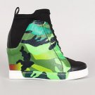 Privileged Rowe Green Camo Print Pull on Lycra Sneaker Wedge Size 8 Fits Small