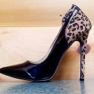 Alba Ricky Black Patent Leopard Pointy Toe Pump Shoe Stiletto Heel Sizes 7.5-10