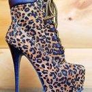 Alba Jennifer 1 Leopard Lace Up Sexy Stiletto Heel Platform Ankle Boots