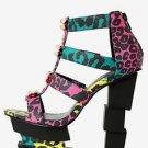 Wals Rainbow Multi Color Leopard Strap Cage Booty Block Heel Platform Shoe 6.5