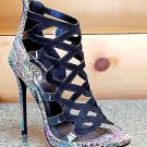"Athena Aleesha Rainbow Abstract Leopard Print 4"" Heel Open Toe Shoe 6.5-9"