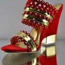 Alba Anne-1 Gold Trim Slip On Summer Wedge Sandal Shoe 7-11 Red or Black